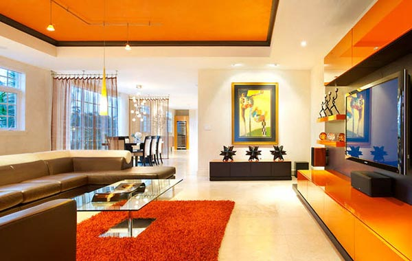 Modern orange living room with brown sofas and orange carpet